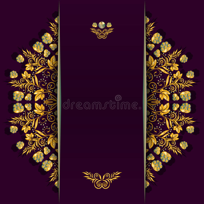 Rich background with golden floral and berry pattern and divider. Template for menu, greeting card, invitation or cover. stock illustration