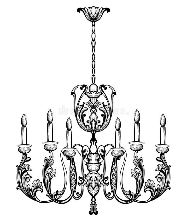 Rich Baroque Classic ljuskrona Åtföljande design för lyxig dekor Vektorillustrationen skissar royaltyfri illustrationer