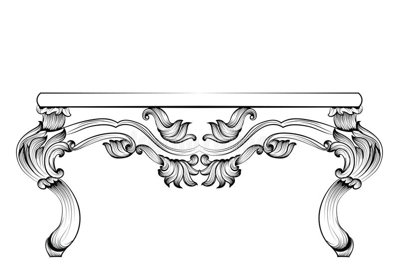 Rich Baroque Table Luxo francês os ornamento cinzelados decoraram a mobília Estilo real vitoriano do vetor ilustração stock