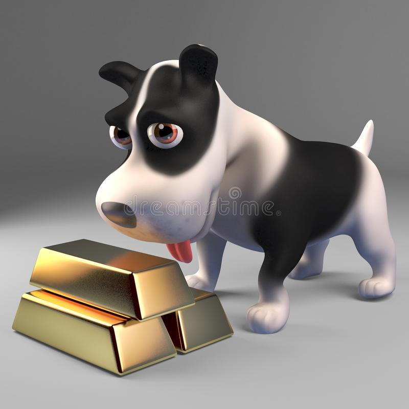 Rich black and white puppy dog with a stack of gold bullion ingots, 3d illustration. Render vector illustration