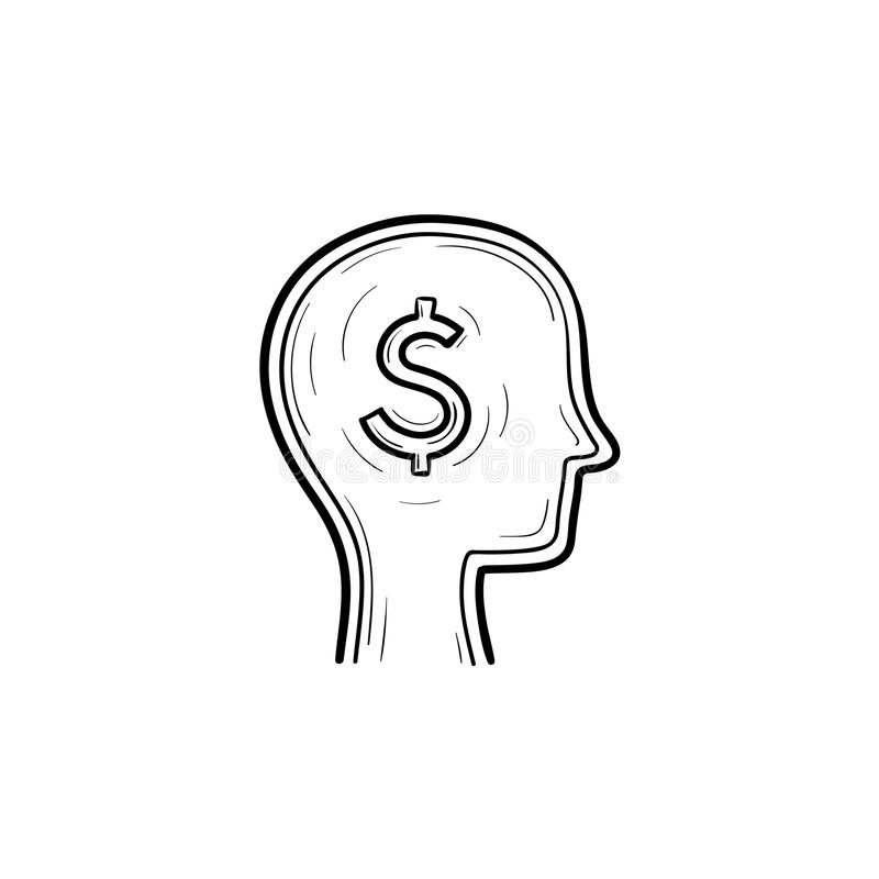 Rich brain in the head hand drawn sketch icon. royalty free illustration