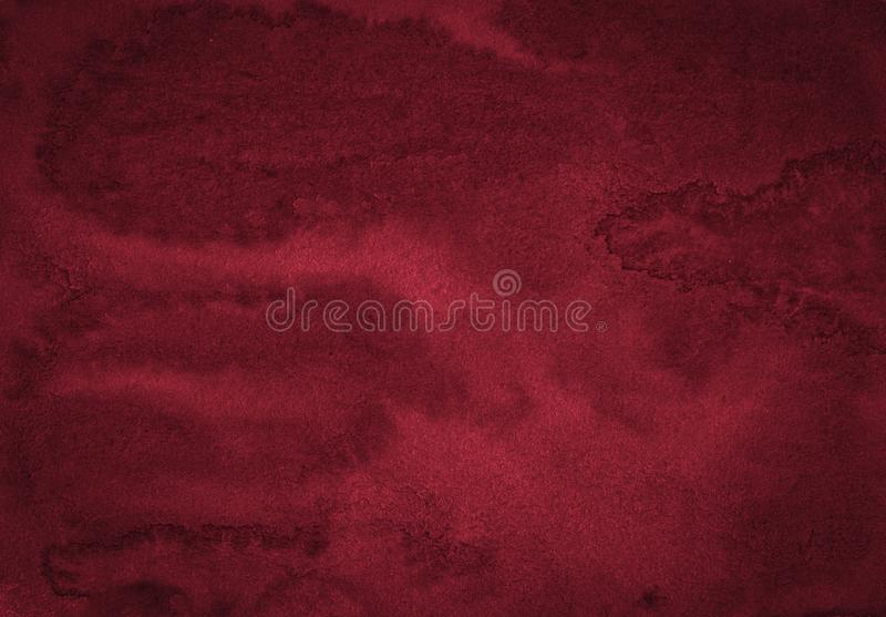 Rich burgundy watercolor frame with with bizarre natural divorces and stripes. Abstract background for design. Layouts and patterns stock photos