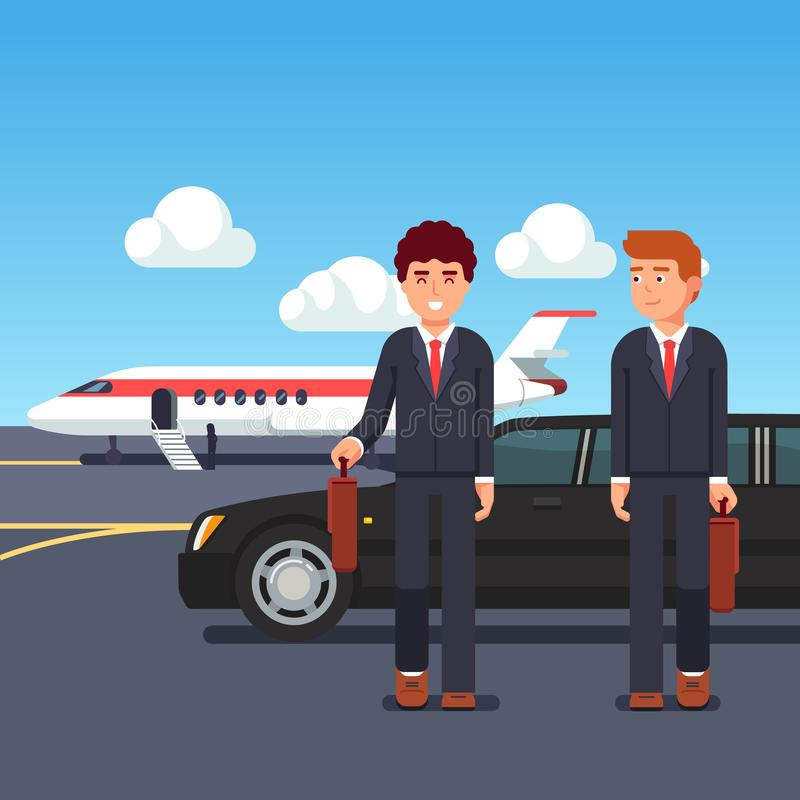 Rich business man coming from private plane royalty free illustration