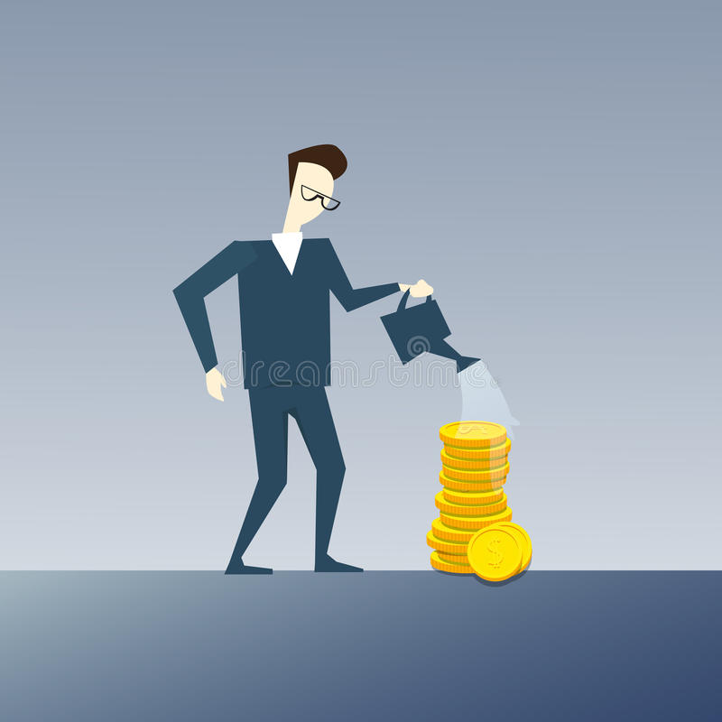 Rich Business Man Watering Coin Stack Money Growth Concept Finance Success royalty free illustration