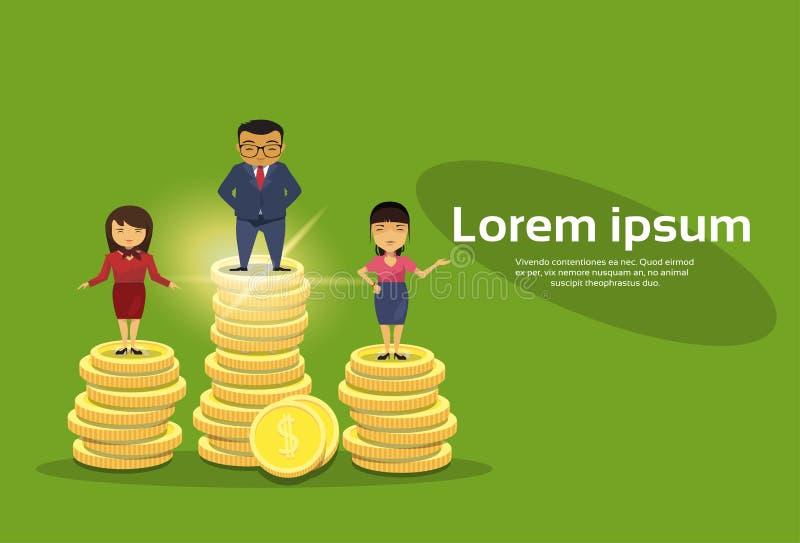 Rich Business People Group Standing op Stapel Gouden Muntstukken Aziatisch Zakenlui Team Financial Success Concept stock illustratie