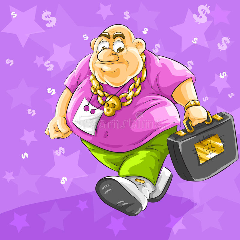 Download Rich Businessman With Full Suitcase Of Dollars Stock Illustration - Image: 12078080