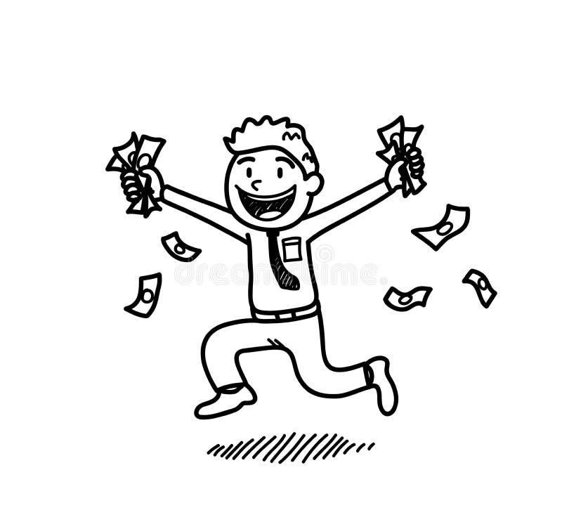 Rich Businessman Holding på pengar vektor illustrationer