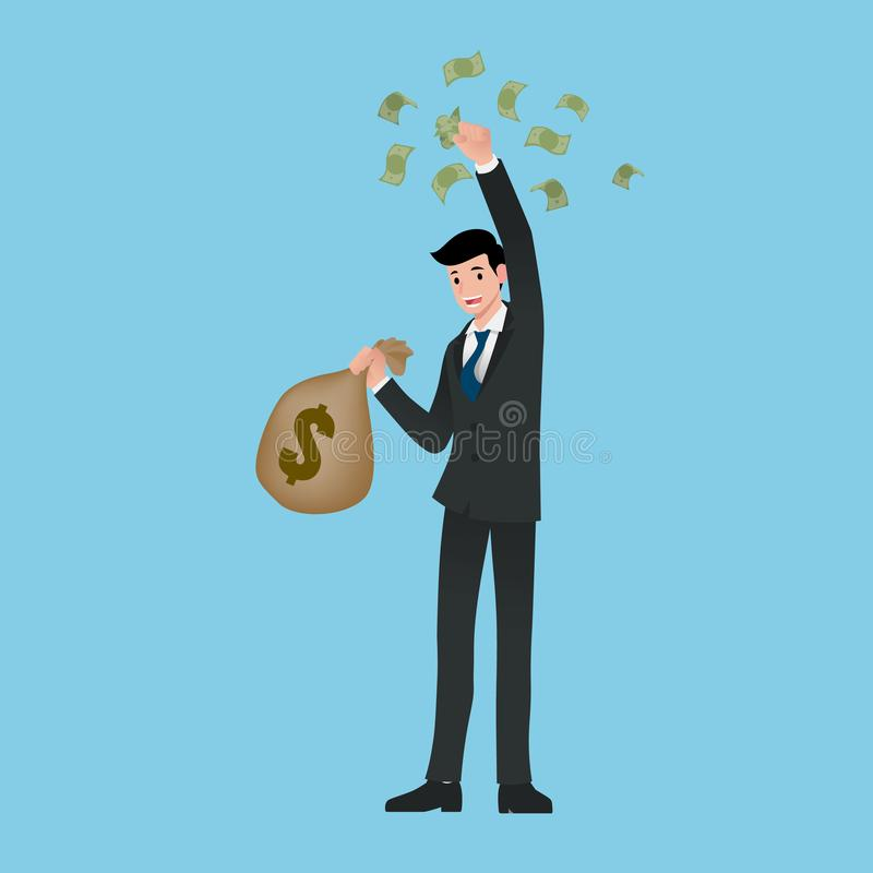 Rich businessman, stand and holding a money bag and bills. salary, income, profit. Successful in career business. vector illustration