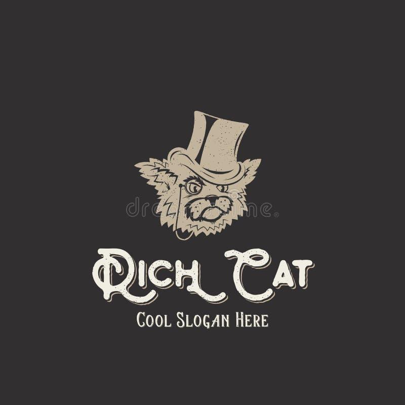 Rich Cat Abstract Vintage Vector Sign, symbole, illustration ou Logo Template avec des textures minables et la rétro typographie illustration libre de droits