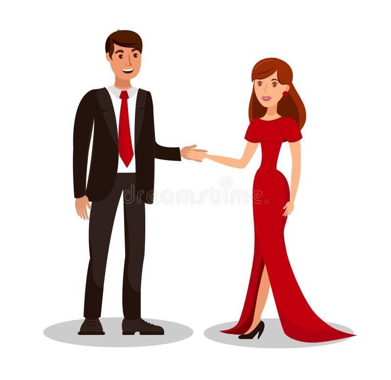 Rich Couple på romantisk datumvektorillustration royaltyfri illustrationer