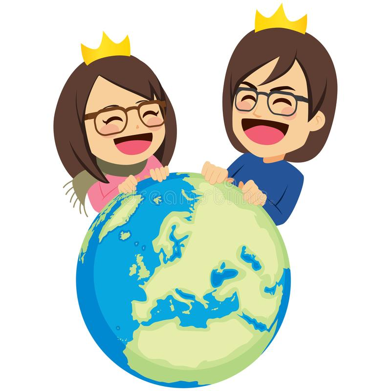 Rich Couple Rule The World royaltyfri illustrationer