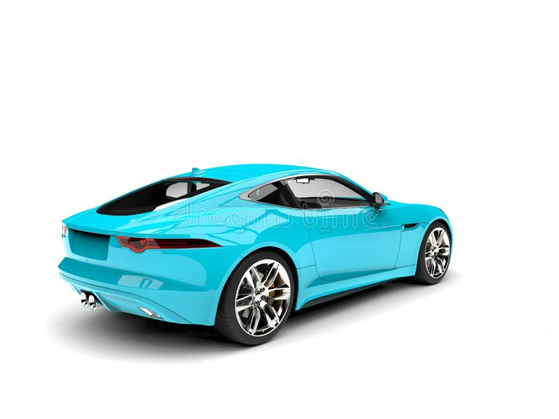 Rich cyan modern concept sports car. Tail side view stock illustration