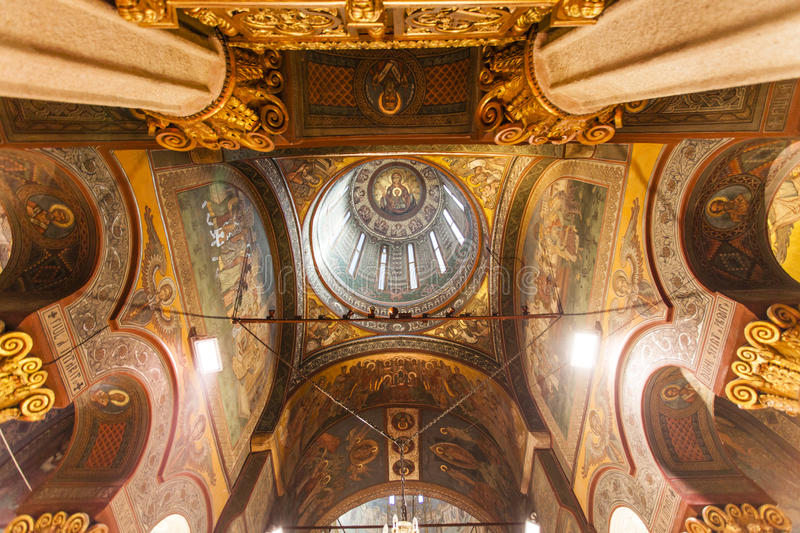 Rich decorated ceiling and dome of the Patriarchal cathedral in Bucharest, Romania. Ornate / rich decorated ceiling and dome of the Patriarchal cathedral in stock image