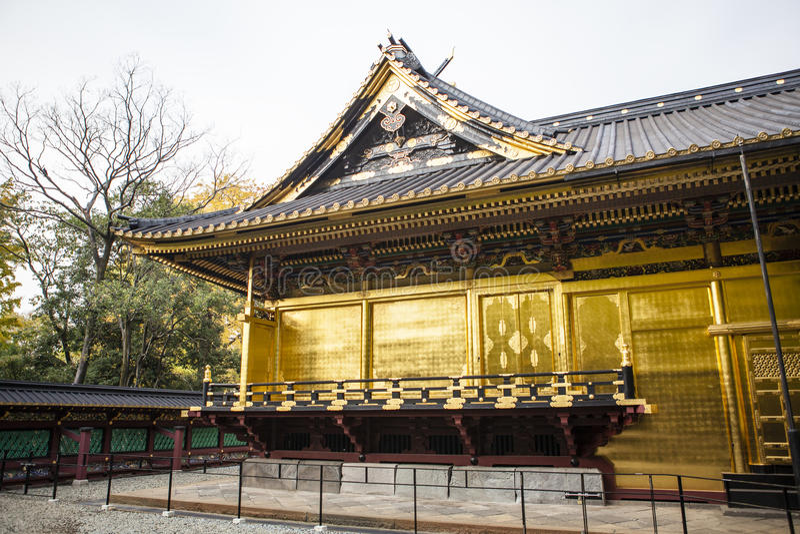 Rich decorated facade of the Toshogu Shrine in Ueno Park (Uenokoen) in Tokyo, Japan stock photos