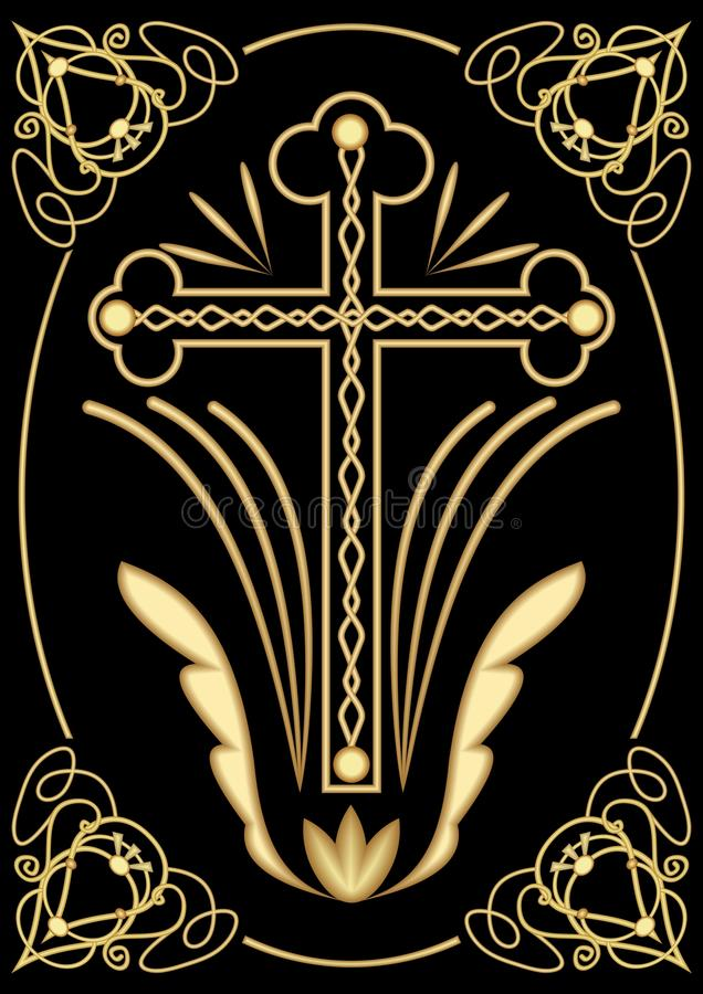 Rich decorated funereal motif with cross, art deco ornamets, symmetrical filigree design on black background, decoration for digni. Fied Christian burial stock illustration
