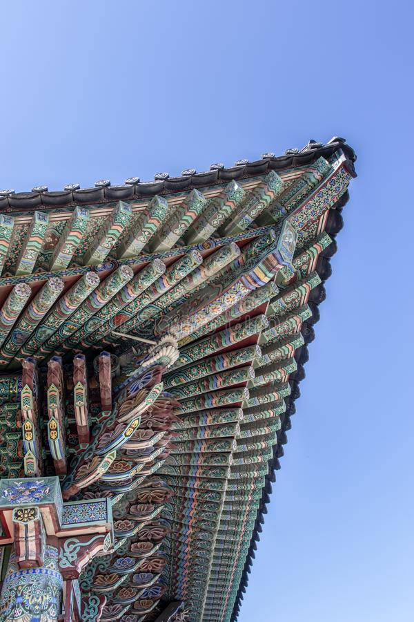 Rich decorated roof of the Haedong Yonggungsa buddhist monastery in Busan, South Korea. Asia royalty free stock image