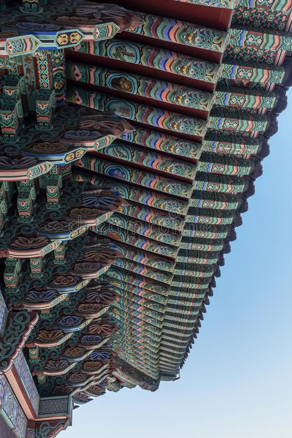 Rich decorated roof of the Haedong Yonggungsa buddhist monastery in Busan, South Korea. Asia royalty free stock photos