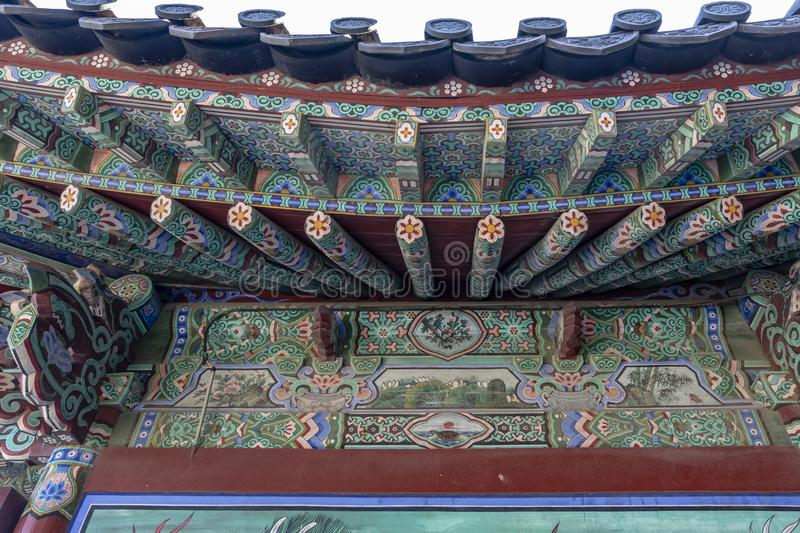 Rich decorated roof of the Haedong Yonggungsa buddhist monastery in Busan, South Korea. Asia royalty free stock images