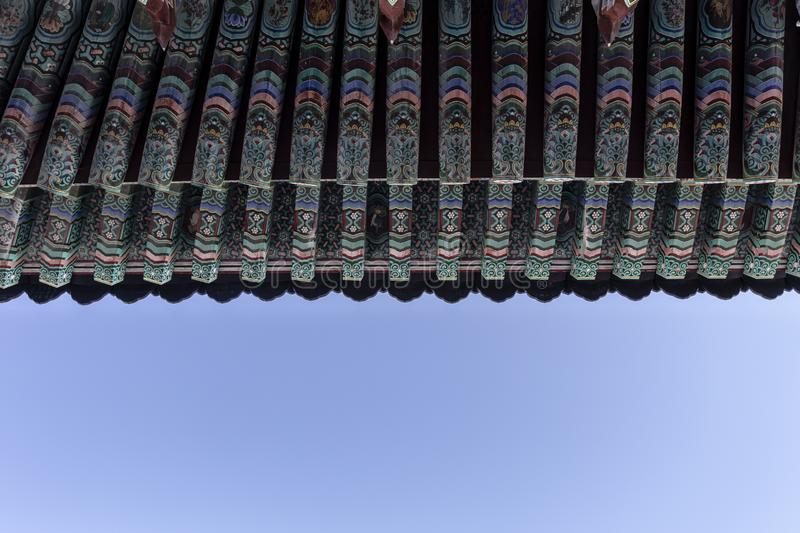 Rich decorated roof of the Haedong Yonggungsa buddhist monastery in Busan, South Korea. Asia royalty free stock photography