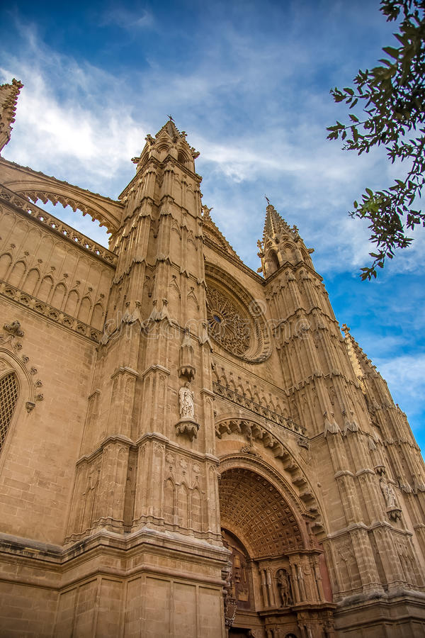 Rich decoration of a ghotic cathedral. Photograph of one of the oldest ghotic cathedrals in Europe- La Seu, The Cathedral of Santa Maria of Palma, Palma de royalty free stock photo