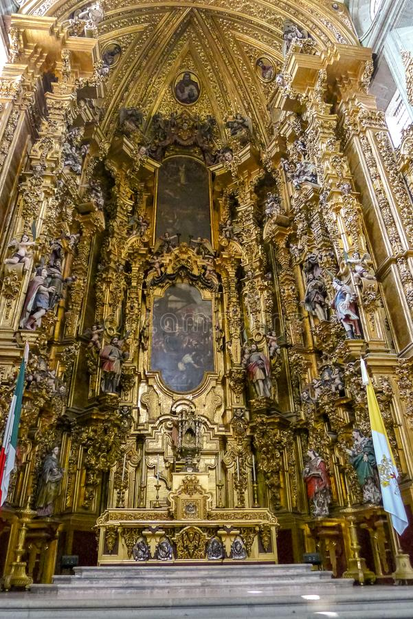 Rich decoration inside Mexico City cathedral stock photo