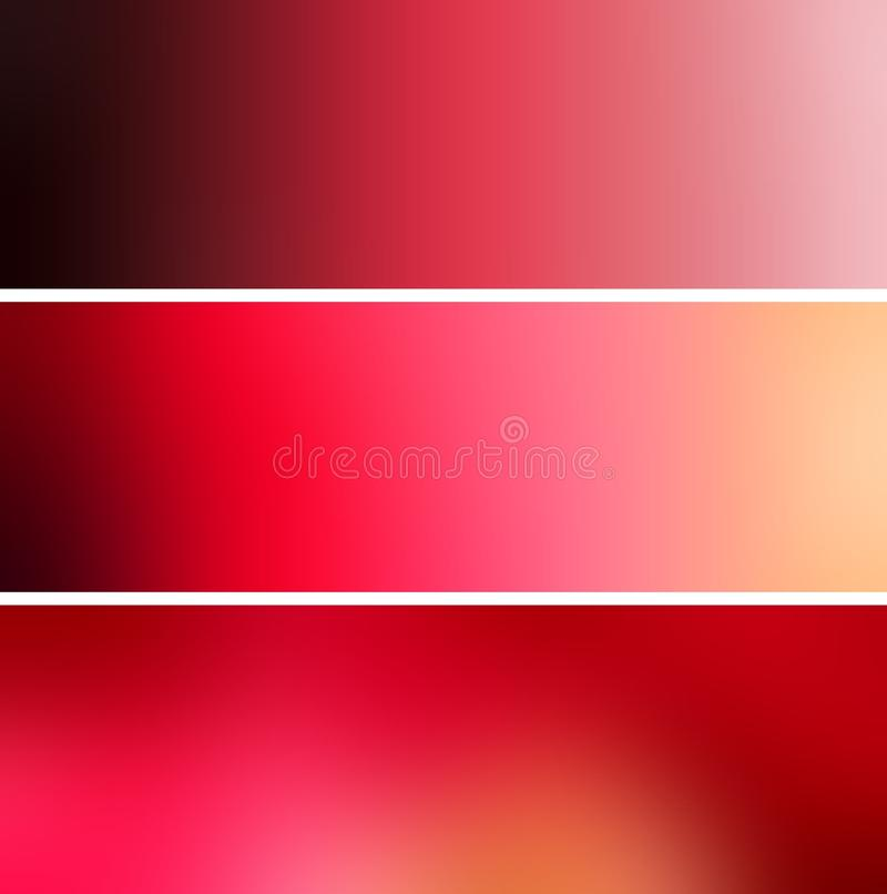 Rich deep red magenta blur backgrounds. Set banners. stock illustration