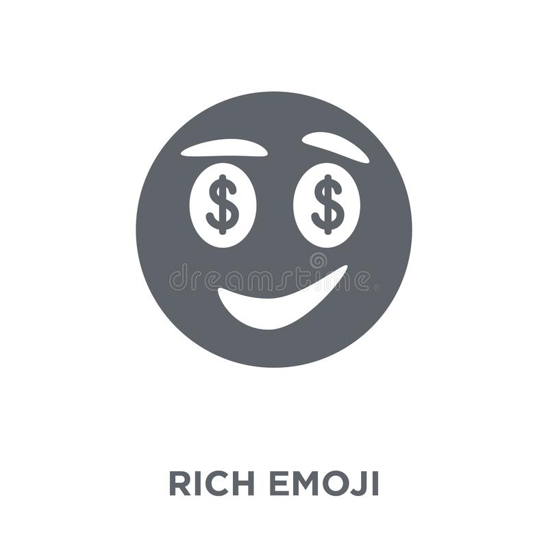 Rich emoji icon from Emoji collection. Rich emoji icon. Rich emoji design concept from Emoji collection. Simple element vector illustration on white background royalty free illustration