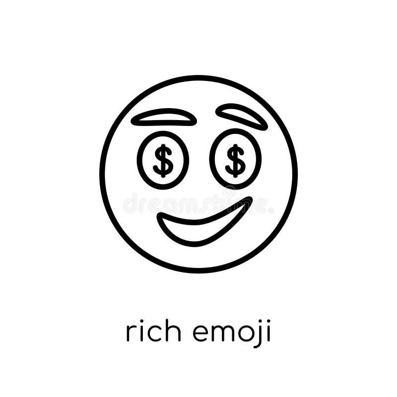 Rich emoji icon from Emoji collection. Rich emoji icon. Trendy modern flat linear vector rich emoji icon on white background from thin line Emoji collection stock illustration