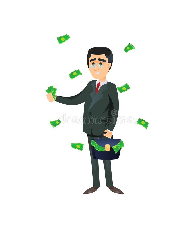 Rich entrepreneur throwing money away. Flat style of wealthy entrepreneur with briefcase throwing cash around isolated on white stock illustration