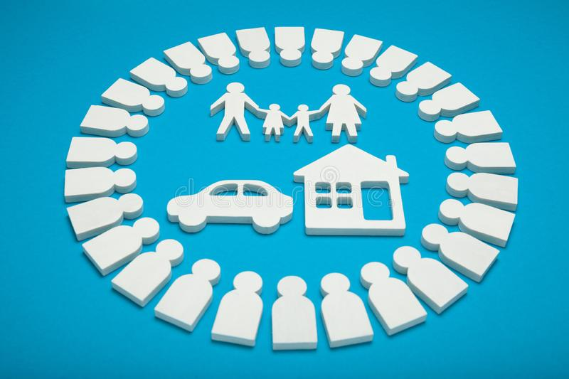 Rich family with money, house and car.  royalty free stock image