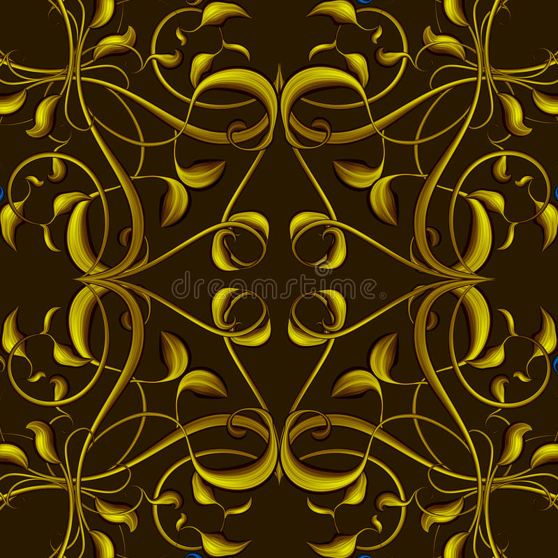 Rich Fantasy Golden Pattern with Fantastic foliage elements for. Fantasy Golden Pattern with Fantastic foliage elements for decor and design. Endless texture for royalty free illustration