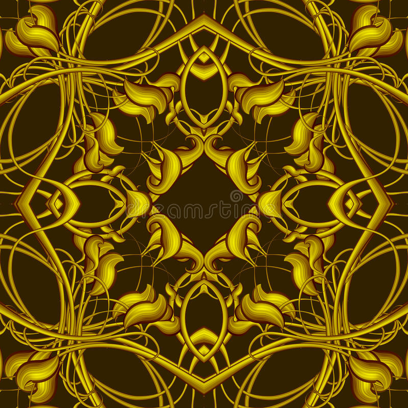 Rich Fantasy Golden Pattern with Fantastic foliage elements for. Fantasy Golden Pattern with Fantastic foliage elements for decor and design. Endless texture for stock illustration