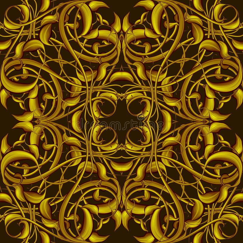 Rich Fantasy Golden Pattern with Fantastic foliage elements for. Fantasy Golden Pattern with Fantastic foliage elements for decor and design. Endless texture for vector illustration