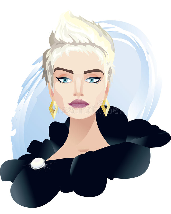 Rich Girl. Portrait of young beautiful blond girl wearing evening dress and jewelry royalty free illustration