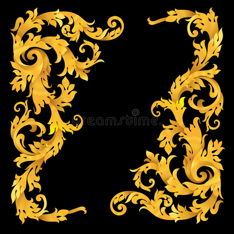 Rich gold vector baroque curly ornamental corners royalty free illustration