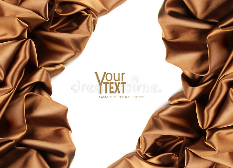 Rich Golden Brown Satin Fabric On White Royalty Free Stock Photos