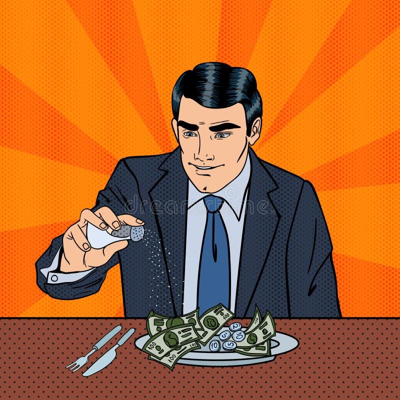 Rich Greedy Businessman Salts Money i plattan Popkonst vektor illustrationer