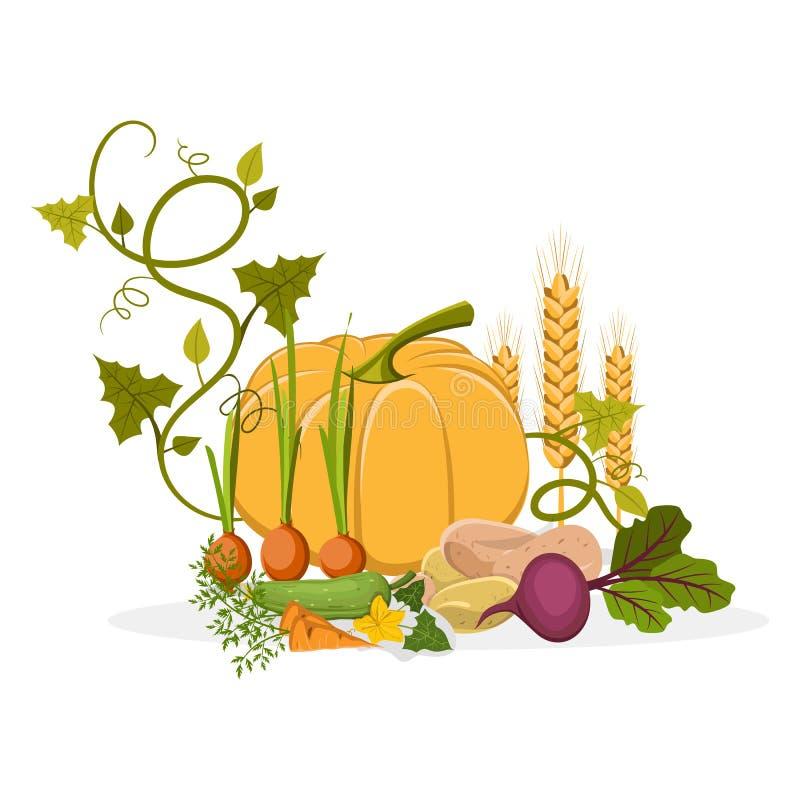 Rich Harvest des légumes et des usines délicieux illustration stock