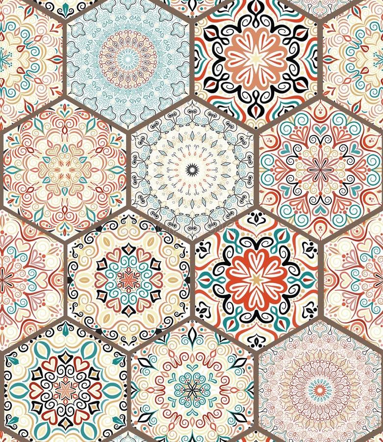 Rich Hexagon Tile Ornament illustration stock