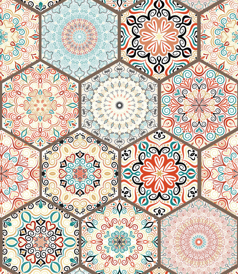 Rich Hexagon Tile Ornament Stock Photo Image Of Ceramic