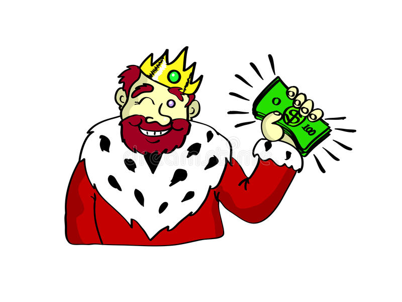 Rich King. A king with a bunch of money in his hand royalty free illustration