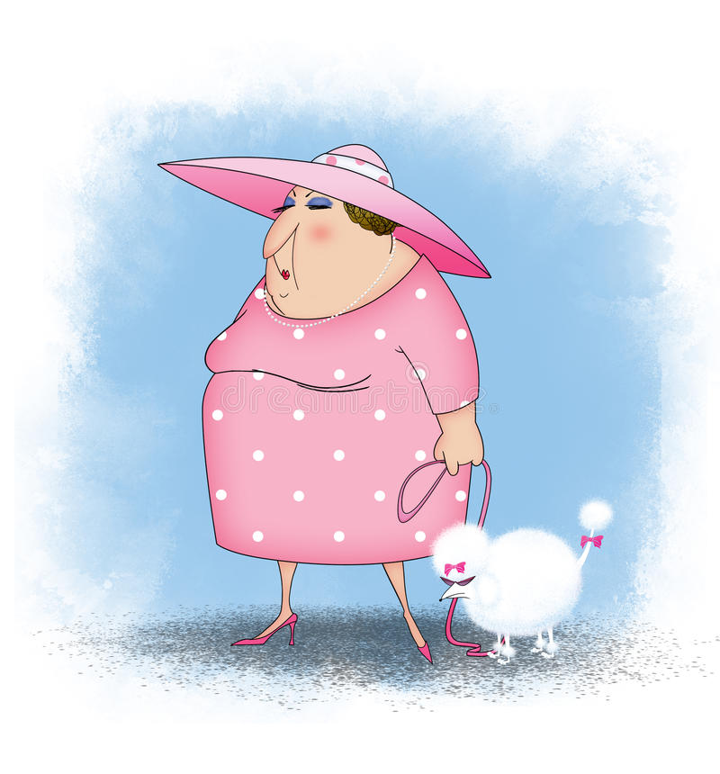 Rich Lady Walking un caniche francés blanco libre illustration