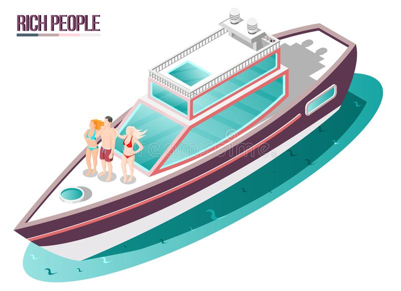 Rich Life Isometric Composition vektor illustrationer