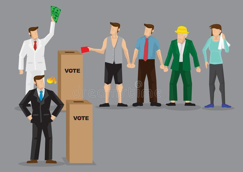 Rich Man Buying Votes Through Bribery Vector Illustration. Rich man using money to buy votes. Vector illustration on unfair competition using bribery concept royalty free illustration