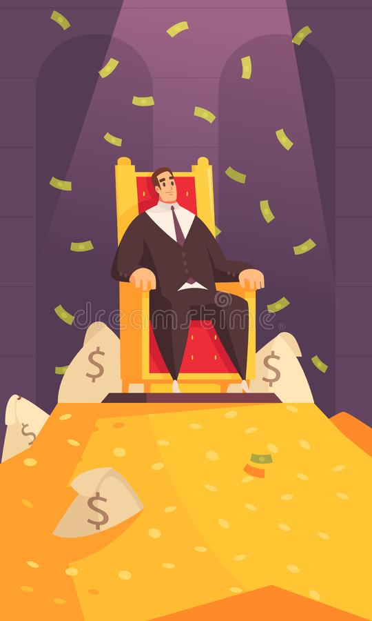 Rich Man Cartoon Composition royaltyfri illustrationer