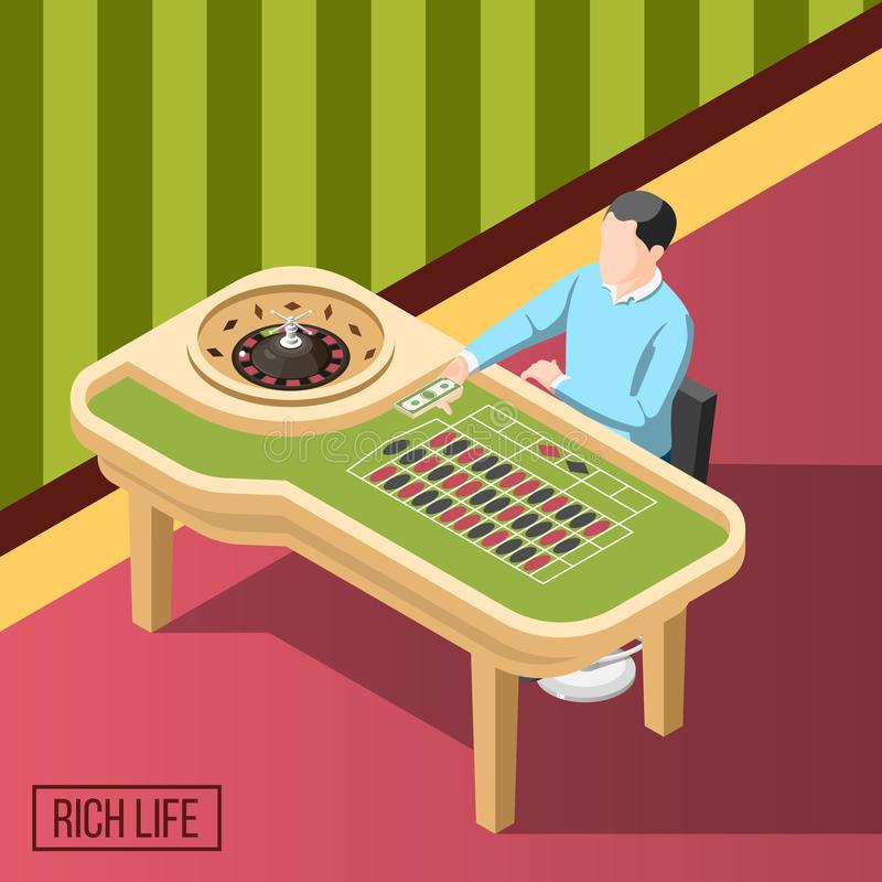 Rich Man In Casino Isometric bakgrund royaltyfri illustrationer