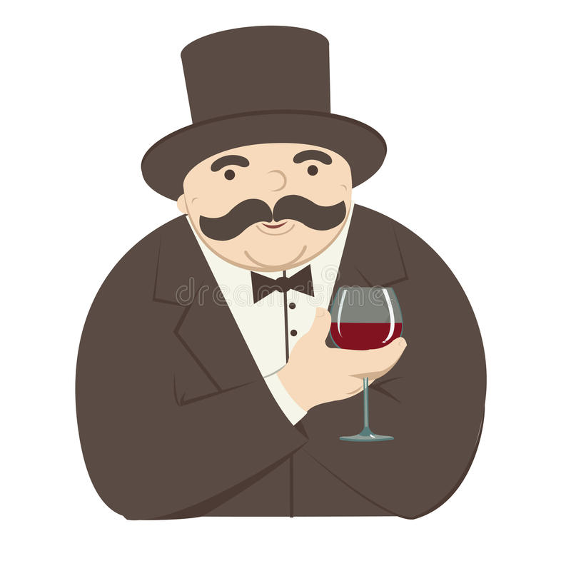 Rich man with a glass of wine. Fairly rich man cartoon with a glass of wine royalty free illustration