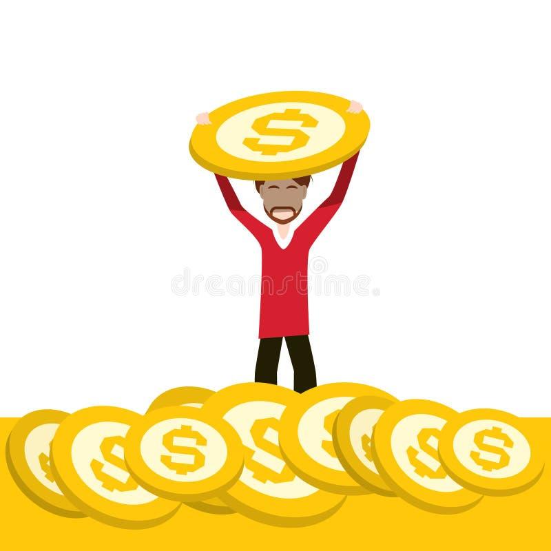 Rich Man Holding Dollar Coin sur l'homme d'affaires Design de pile d'argent d'or illustration stock