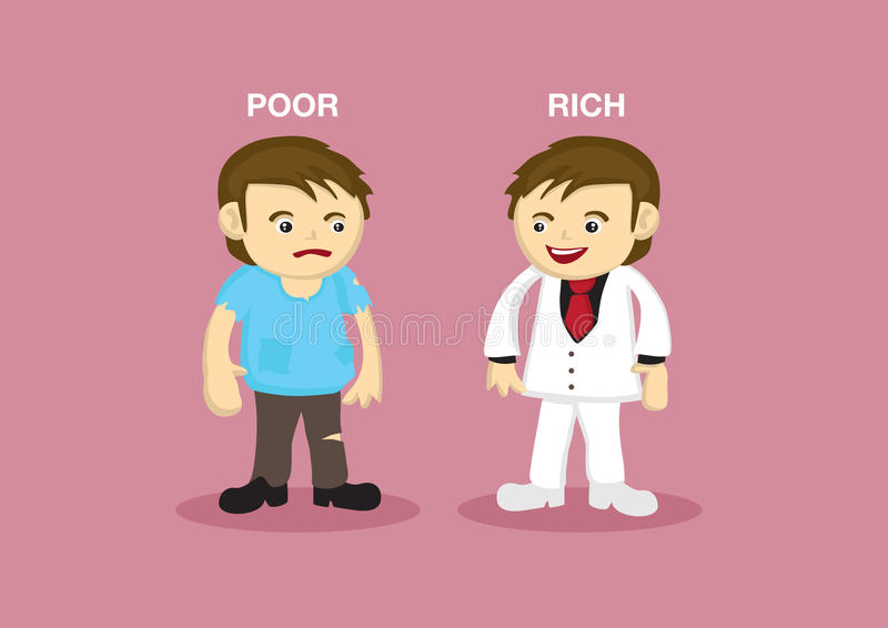 Rich Man Poor Man Vector tecknad filmillustration stock illustrationer