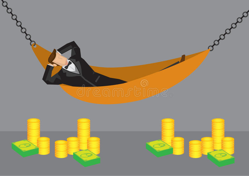 Rich Man Resting en el ejemplo de la historieta del vector de la hamaca libre illustration
